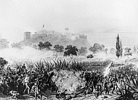 0132263 © Granger - Historical Picture ArchiveBATTLE OF CHAPULTEPEC, 1847.   U.S. troops storming the fortress of Chapultepec on the outskirts of Mexico City, 13 September 1847. Lithograph after a painting, 1847.
