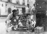 0132286 © Granger - Historical Picture ArchiveMEXICAN REVOLUTION.   Mexican government soldiers (Federales under Victoriano Huerta) with machine gun. Photograph, early 1913.