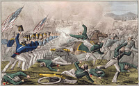 0132291 © Granger - Historical Picture ArchiveMEXICAN-AMERICAN WAR.   Battle of Churubusco near Mexico City, August 20, 1847. Hand-colored lithograph, 1847.