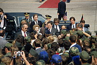 0132322 © Granger - Historical Picture ArchiveRONALD REAGAN.   Tempelhof Airport Arrival / departure of VIP's Germany / Berlin / Tempelhof (Tempelhof-Schoeneberg): US President Ronald Reagan arriving at Tempelhof Airport for the NATO Summit: 11.06.1982.