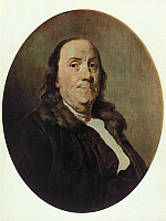 0132346 © Granger - Historical Picture ArchiveBENJAMIN FRANKLIN.   (1706-1790). Politician, scientist, inventor, writer, statesman, USA. Painting by Duplessis, 1780.