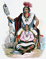 0132363 © Granger - Historical Picture ArchiveKEOKUK (c1783-1848).   Chief of the Sauk (Sac) and Fox; Keokuk with his wife. Colored wood engraving after a painting by G. Catlin, c1835.