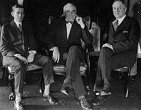 0132434 © Granger - Historical Picture ArchiveWARREN G. HARDING.   (1865-1923). Warren Gamaliel Harding. Politician, Republican, USA. President of the United States with Chairman Will H. Hays (l.) and Harry W. Dolcherty (r.) during a meeting of the Republican Party in Washington.