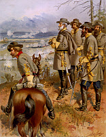 0132450 © Granger - Historical Picture ArchiveROBERT E. LEE (1807-1870).   Confederate general Robert Edward Lee with his generals at the Rappahannock River, during the Battle of Fredericksburg, Virgina, 11-15 December 1862.