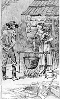 0132457 © Granger - Historical Picture ArchiveBEGINNING OF THE GOLD RUSH.   California, 1848. James W. Marshall, foreman of Sutter's sawmill in Coloma, testing a gold nugget found in the river by putting it into the cauldron of boiling, soapy water of housekeeper Mrs. Wimmer. The day after, he found a washed pure gold nugget. Wood engraving, 19th century.