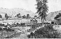 0132459 © Granger - Historical Picture ArchiveCALIFORNIA GOLD RUSH.   1848-1854. The sawmill belonging to Johann August Sutter (John Augustus Sutter) in the Coloma Valley near Sacramento, where the first gold nuggets were found. Wood engraving, 19th century.