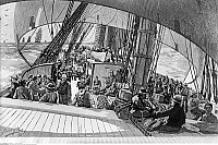 0132460 © Granger - Historical Picture ArchiveCALIFORNIA GOLD RUSH.   1848-1854. Gold prospectors aboard clipper ships sailing around Cape Horn on their way to California. Wood engraving, c1850.