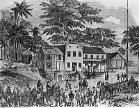 0132466 © Granger - Historical Picture ArchiveCALIFORNIA GOLD RUSH.   1848-1854. Gold prospectors traveling to California via the Central American Isthmus reach the American Hotel on their way to San Juan del Sur, Nicaragua, the starting point for ferry boats to San Francisco. Contemporary wood engraving, around 1850.