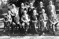 0132476 © Granger - Historical Picture ArchiveCALVIN COOLIDGE (1872-1933).   President of the United States with his cabinet: first row from left: Dwight Filley Davis, Frank B. Kellogg, President Coolidge, Andrew Mellon, John G. Sargent, Harry S. New; second row from left, James J. Davis, Herbert Hoover, William M. Jardine, Hubert Work, Curtis D. Wilbur. 11/01/1927.