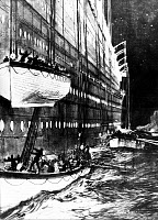 0132711 © Granger - Historical Picture ArchiveTITANIC: LIFEBOATS, 1912.   As lifeboats are launched from the sinking 'Titanic,' one is nearly lowered on top of another. Drawing, 1912.