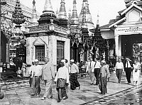 0132907 © Granger - Historical Picture ArchiveBURMA: LUDWIG ERHARD.   German Minister of Economic Affairs, Ludwig Erhard, visiting the Shwedagon Pagoda in Rangoon. Photograph, 1958.