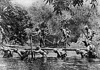 0132925 © Granger - Historical Picture ArchiveWORLD WAR II: BURMA.   Japanese infantry crossing a river in the jungle over a bamboo footbridge that is laid over the backs of comrades. Photograph, January 1942.