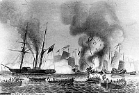 0132932 © Granger - Historical Picture ArchiveFIRST OPIUM WAR.  East India steamer Nemesis and other boats destroying Chinese war junks in Anson's Bay, 07 January 1841.