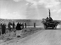 0133028 © Granger - Historical Picture ArchivePALESTINE.   Arab military blocking the road from Jerusalem to Tel Aviv near Bab el Wad. Photograph, May 1948.