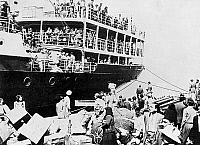 0133065 © Granger - Historical Picture ArchivePALESTINE: REFUGEES.  Palestinian refugees arriving on a vessel at Beirut, Lebanon. Photograph, 1948.