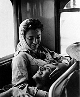 0133103 © Granger - Historical Picture ArchiveMIDDLE EAST WARS.   A young Israeli woman is taking care of her wounded fiance on their way to the military hospital. Photograph, 11 November 1956.
