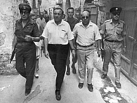 0133121 © Granger - Historical Picture ArchiveYOM KIPPUR WAR.   General Chaim Herzog (left), Jerusalem Mayor Teddy Kollek (middle), and the journalist Guenter Stiller on a tour through just conquered East Jerusalem. Photograph, 07 June 1973.