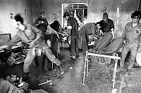0133126 © Granger - Historical Picture ArchiveYOM KIPPUR WAR.  An Israeli makeshift military hospital giving first aid to badly injured soldiers. Sinia. Photograph, about October 1973.