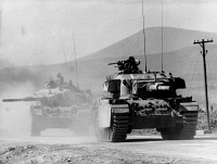 0133129 © Granger - Historical Picture ArchiveYOM KIPPUR WAR.   Israeli Centurion-tanks advancing toward Damascus. Photograph, October 1973.