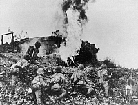 0133366 © Granger - Historical Picture ArchiveWORLD WAR II: CORREGIDOR.  Battle of Corregidor, Japanese assault troops fighting with flame throwers against US stronghold.