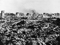 0163071 © Granger - Historical Picture ArchiveEGYPT: SUEZ CRISIS, 1956.   A view of the destruction in the Arab quarter of Port Said, Egypt, following British air raids at the time of the Suez Crisis, 9 November 1956.