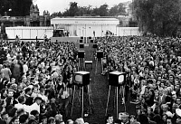 0163249 © Granger - Historical Picture ArchiveTELEVISION EXHIBIT, 1951.   Crowd of people at an RCA television exhibit in a park in Schöneberg, West Berlin, 15 August 1951.