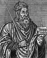 0165480 © Granger - Historical Picture ArchiveCLOVIS I (c466-511).   King of the Salian Franks, 481-511. Engraving.