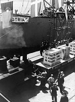 0165619 © Granger - Historical Picture ArchiveITALY: MARSHALL PLAN, c1950.   Delivery of the 4 millionth ton of goods through the Marshall Plan being off-loaded at the harbor of Trieste, Italy. Photograph, c1950. Full credit: Imagno - ullstein bild / Granger, NYC -- All rights reserved