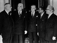 0166853 © Granger - Historical Picture ArchiveSUEZ CRISIS, 1956.   London conference to settle the Suez Crisis. From the left: US foreign minister John Foster Dulles, Australian Prime Minister Robert Gordon Menzies, Swedish appointee Hagloff, Ethiopian foreign minister Aklilou Habte-Wold and Iran delegate to U.N., Ali Gholi Ardalan. Photograph, 25.8.1956.