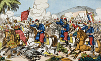 0166926 © Granger - Historical Picture ArchiveUPRISING IN ALGERIA, 1871.   Colonial war: cavalry attack of the Chasseurs d'Afrique near Haydra. Contemporary illustration, 1871.