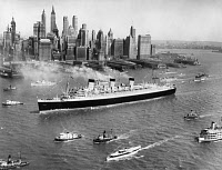 0167252 © Granger - Historical Picture ArchiveOCEAN LINER: QUEEN MARY.   RMS Queen Mary arriving in New York City on her maiden voyage from Southampton, 1 June 1936.