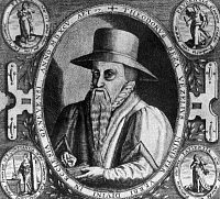 0168933 © Granger - Historical Picture ArchiveTHEODORE DE BÈZE (1519-1605).   French Protestant theologian and scholar. At age 77, surrounded by the virtues faith, prudence, patience, and constance. Copper engraving, 1595, by Johann Hogenberg.
