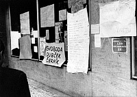 0169125 © Granger - Historical Picture ArchivePRAGUE SPRING, 1968.   Protests against the invasion of Czechoslovakia by troops of the Warsaw Pact countries: protest posters against the occupation of Czechoslovakia. Photograph, 26.08.1968.