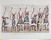 0169145 © Granger - Historical Picture ArchiveFRENCH REVOLUTION 1789.   Political caricature of the commissioners that were handed over to the Austrians by General Charles F. Dumouriez. Illustration, undated (after 1789).