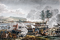 0169189 © Granger - Historical Picture ArchiveNAPOLEONIC WARS.   War of the Fourth Coalition: Battle of Friedland between Russian (left) and French troops (right). Contemporary colored copperplate engraving, 14.06.1807.