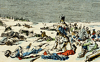 0169195 © Granger - Historical Picture ArchiveINVASION OF RUSSIA.   French army withdrawing from Russia and collapsing: bodies of the soldiers, who died of hunger, exhaustion and severe cold, are lying in the snow. Contemporary depiction, 1812.