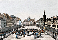 0169203 © Granger - Historical Picture ArchiveNAPOLEONIC WARS.   Battle of Leipzig: after the victorious battle the monarchs of the allies (Emperor Franz II, King Friedrich Wilhelm III and Tsar Alexander I) meet at the market square in Leipzig. Contemporary print by Campe, 1813.