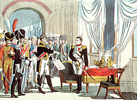 0169230 © Granger - Historical Picture ArchiveNAPOLEON BONAPARTE.   (1769-1821). French Emperor, 1804-1814/15. Fontainebleau: Marshal Ney is handing over to Napoleon the Senate's decision about his dismissal. Contemporary German depiction by Campe, 1814.