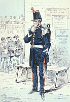 0169240 © Granger - Historical Picture ArchiveHISTORICAL FRENCH UNIFORMS.   Member of the National Guard in old uniform during the siege of Paris. Contemporary French lithograph, 1870/1871.
