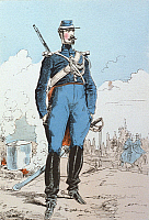 0169243 © Granger - Historical Picture ArchiveHISTORICAL FRENCH UNIFORMS.   Member of the Republican Guard, 1871.