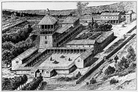 0169270 © Granger - Historical Picture ArchiveMEDIEVAL GAUL.   Drawing of a regal palace from the Merovingian era. Artist's reconstruction of Garnier, 19th century.