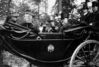 0169278 © Granger - Historical Picture ArchiveROYAL VISIT FROM SPAIN.   Fontainebleau Alfonso XIII (1886-1941), King of Spain, driving together with the French Prime Minister Raymond Poincaré (1840-1934) in a carriage to a manoeuvre field. Photographed by M. Rol, 1913.