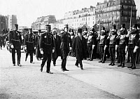 0169281 © Granger - Historical Picture ArchiveSTATE VISIT TO PARIS.   Fontainebleau Alfonso XIII (1886-1941), King of Spain, together with the French Prime Minister Raymond Poincaré (1860-1934) and the military governor Gol Michel visiting a military school in Paris, France. Photographed by M. Rol, 1913.
