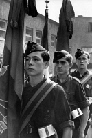 0169586 © Granger - Historical Picture ArchiveSPANISH CIVIL WAR.   Young members of the youth organization of Falange Española de las Juntas de Ofensiva Nacional Sindicalista from Spain on a visit to Berlin. Standard bearers in the courtyard of thier accomodation in Neukölln. Photographph by Heinz Fremke, 1937.