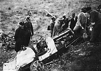 0170473 © Granger - Historical Picture ArchiveGERMANY: CAR CRASH, 1932.   The Bugatti racing car that was fatally crashed by Prince Georg Christian Lobkowicz during a race at the Avus Circuit in Berlin, 22 May 1932.