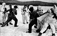 0171204 © Granger - Historical Picture ArchiveUSSR/CHINA CONFLICT, 1969.   Border dispute at the Usuri River: direct confrontation between Chinese and Soviet border troops on the frozen river. Photograph, March, 1969. Full credit: ullstein - Eupra/Granger, NYC -- All rights reserved.