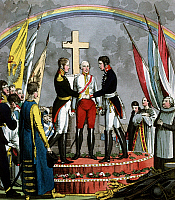 0171259 © Granger - Historical Picture ArchiveHOLY ALLIANCE, 1815.   Allegorical depiction of The Holy Alliance. From the left: Alexander I of Russia, Franz I of Austria and Friedrich Wilhelm III of Prussia. Copperplate engraving, 1815.
