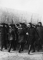 0171492 © Granger - Historical Picture ArchiveSOVIET WORKERS MILITIA.   Parade of members of a workers militia in Red Square, Moscow, on the occasion of a revolutionary ceremony, 1920s. Full credit: ullstein - Archiv Gerstenberg / Granger, NYC -- All rights reserved.