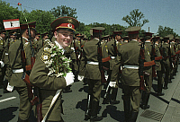 0171643 © Granger - Historical Picture ArchiveRUSSIAN ARMY FAREWELL.   Lichtenberg, Berlin, Germany: Farewell parade of the Russian Army in Karlshorst. Photograph, 25.06.1994. Full credit: ullstein bild - Jansson / Granger, NYC -- All Rights Reserved.