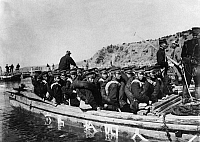0171644 © Granger - Historical Picture ArchiveRUSSO-JAPANESE WAR, 1904.   Advance of the first Japanese army after disembarking at Incheon, Korea, crossing the Yalu River. Photograph, May 1904. Full credit: ullstein bild / Granger, NYC -- All Rights Reserved.